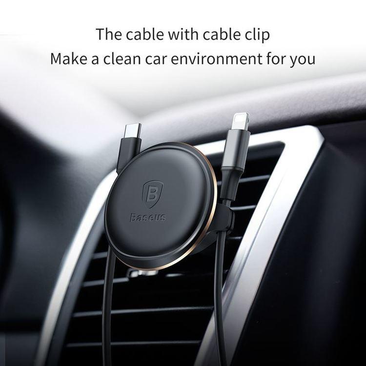 Baseus Magnetic Air Vent - Magnetyczny uchwyt samochodowy na kratkę wentylacyjną z klipsem na 2 kable (czerwony/czarny)