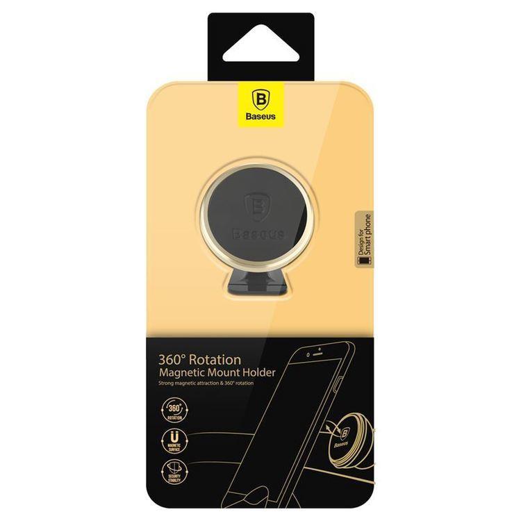 Baseus 360-degree Rotation Magnetic Mount Holder - Uchwyt magnetyczny na deskę rozdzielczą samochodu (złoty/czarny)