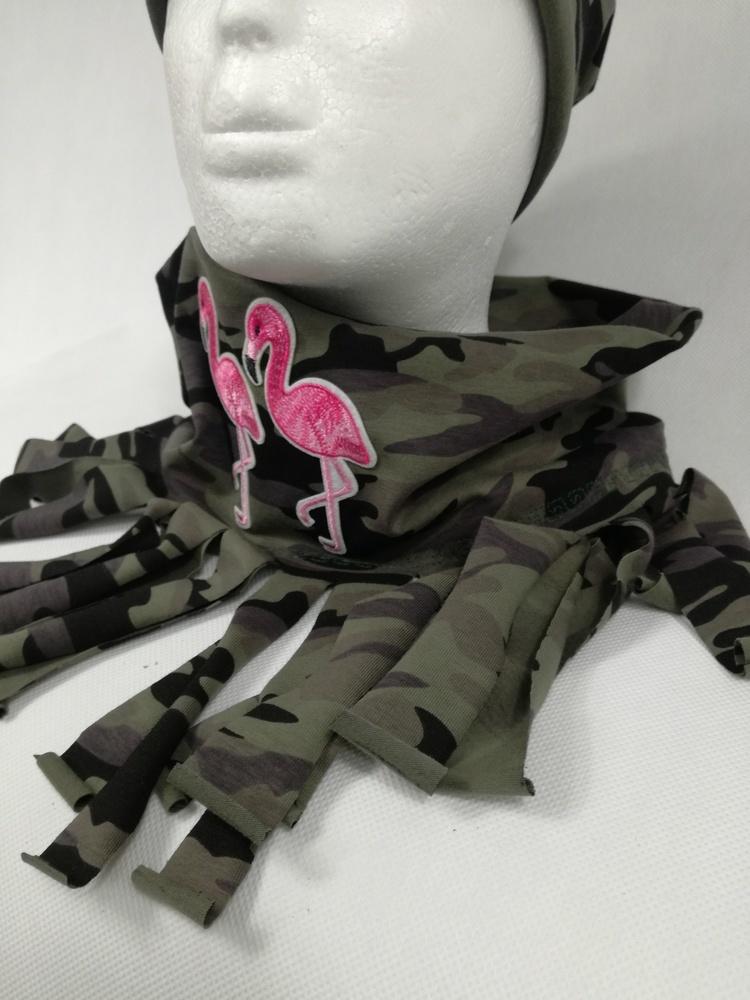 Szalik-komin z flamingami i fredzlami by Lady Kate