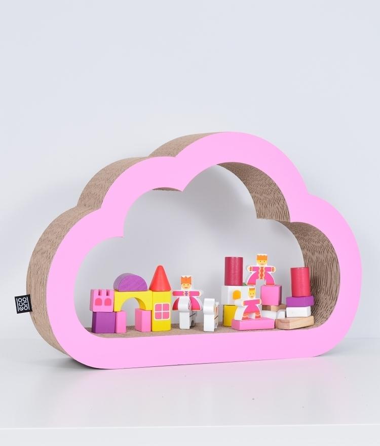Półka na książki zabawki CHMURKA ecoono   różowy