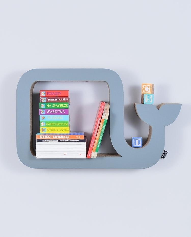 Półka na książki zabawki WIELORYB ecoono | szary