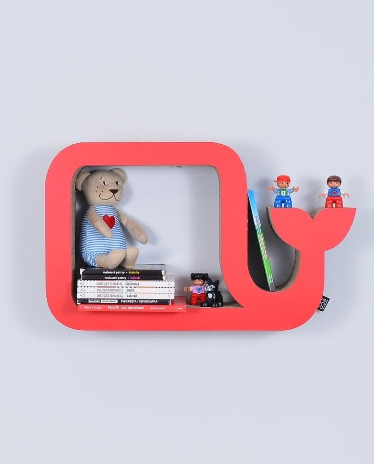 Półka na książki zabawki WIELORYB eco | czerwony
