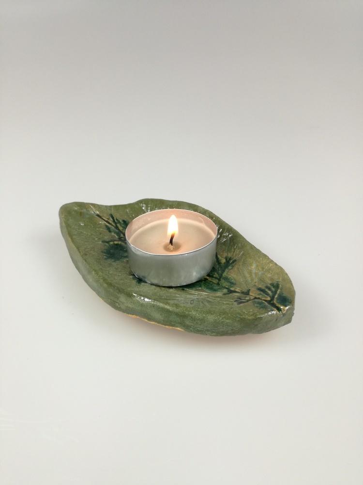 Podstawka ceramiczna pod świeczkę Listek by Lady K