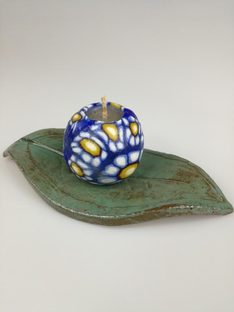 Podstawka ceramiczna pod świeczkę Liść