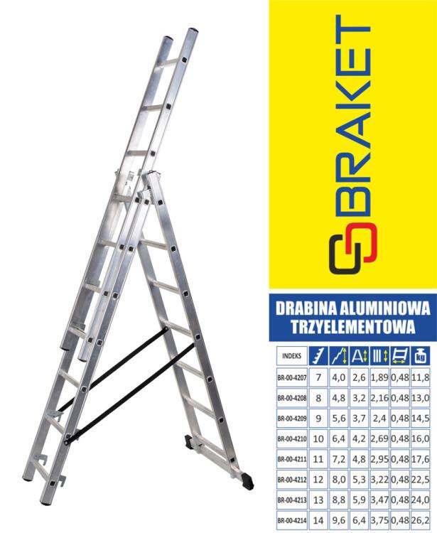 DRABINA ALUMINIOWA 3-ELEMENTOWA 640CM 11+11+11 SZCZEBLI