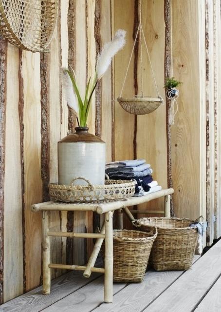 Madam Stoltz - Zestaw trzech koszy bambusowych