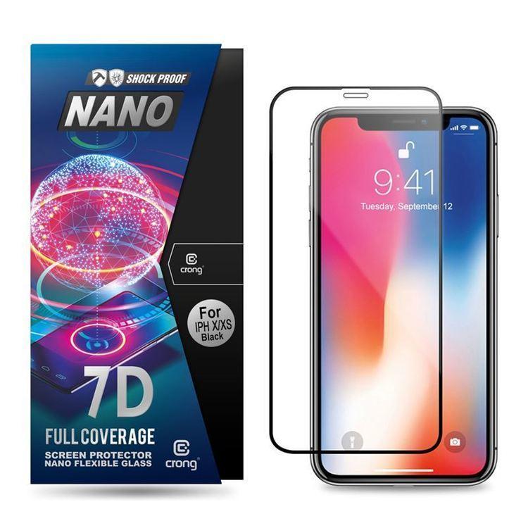 Crong 7D Nano Flexible Glass - Szkło hybrydowe 9H na cały ekran iPhone 11 Pro / iPhone Xs / X