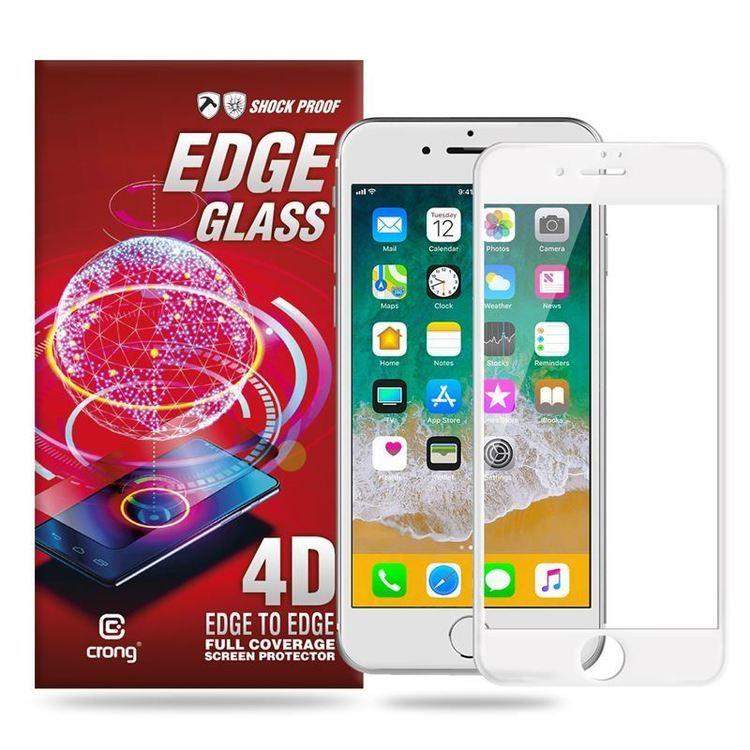 Crong Edge Glass 4D Full Glue - Szkło hartowane na cały ekran iPhone 8 / 7 (biała ramka)