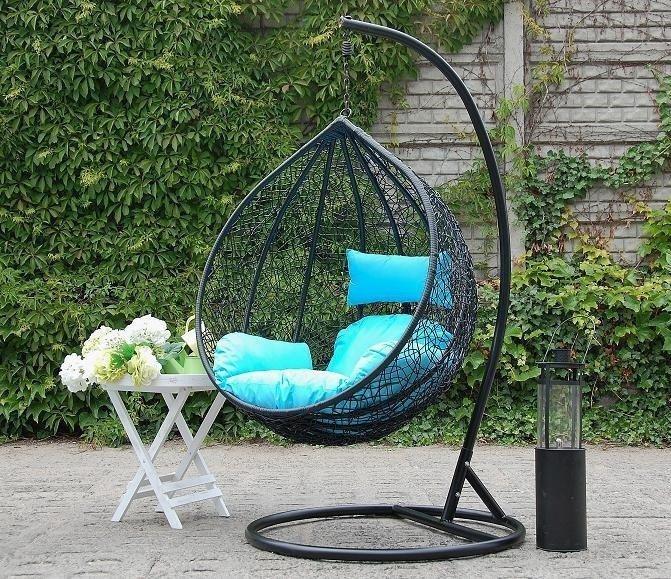 Fotel wiszący ogrodowy czarny XXXL