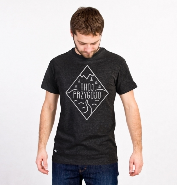 Koszulka męska AHOJ PRZYGODO grafitowa L