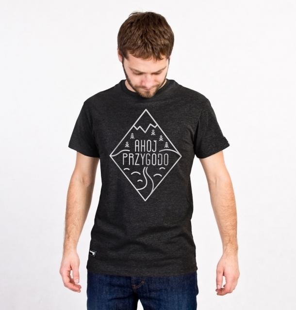 Koszulka męska AHOJ PRZYGODO grafitowa XL