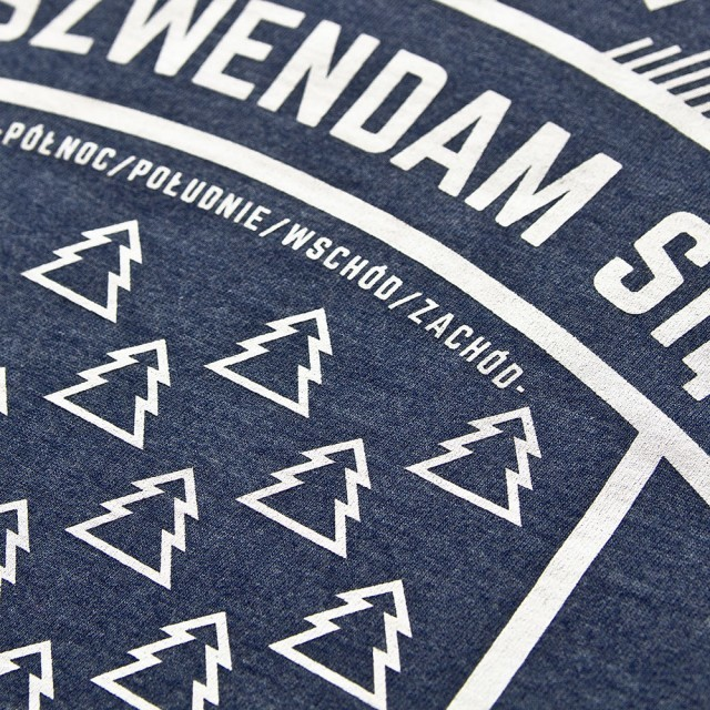 Koszulka damska SZWENDAM SIĘ/NAMIOT jeansowy melanż XXS