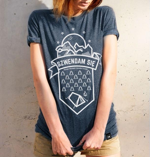 Koszulka damska SZWENDAM SIĘ/NAMIOT jeansowy melanż XS