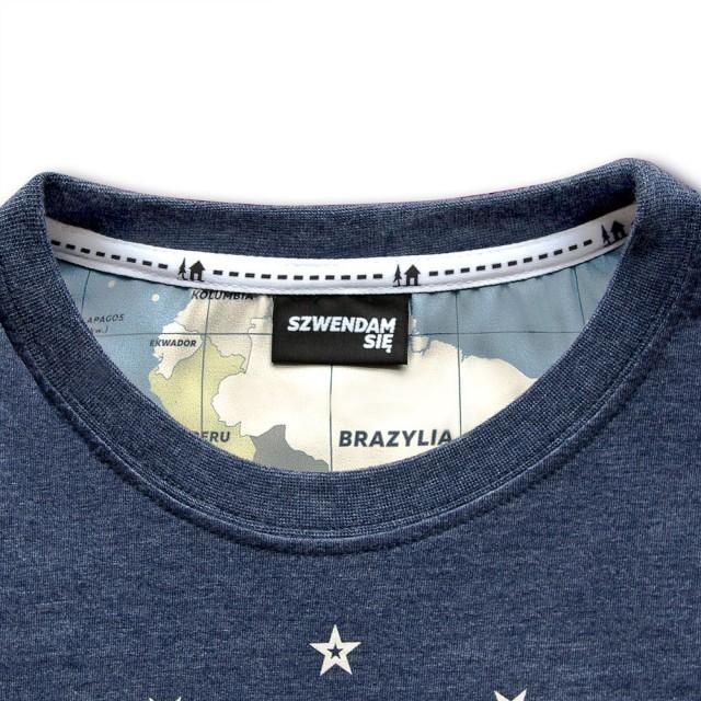 Koszulka damska SZWENDAM SIĘ/NAMIOT jeansowy melanż M