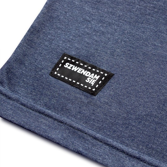 Koszulka męska SZWENDAM SIĘ/NAMIOT jeansowy melanż L