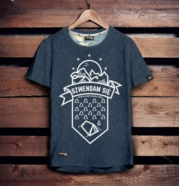 Koszulka męska SZWENDAM SIĘ/NAMIOT jeansowy melanż XL