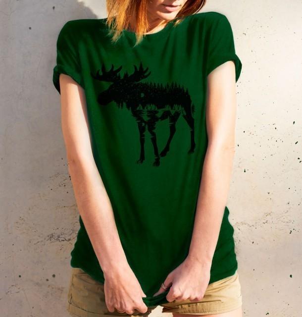 Koszulka damska ŁOŚ zielona  L