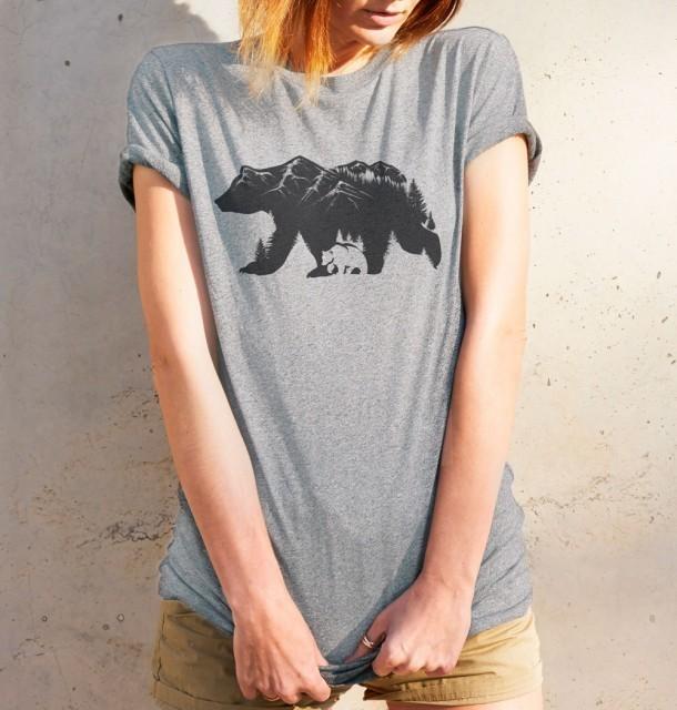 Koszulka damska NIEDŹWIEDŹ BRUNATNY jasnoszara S