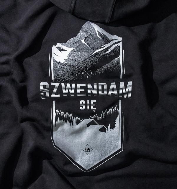 Bluza męska z kapturem rozpinana SZWENDAM SIĘ/CHOINKA czarna  S