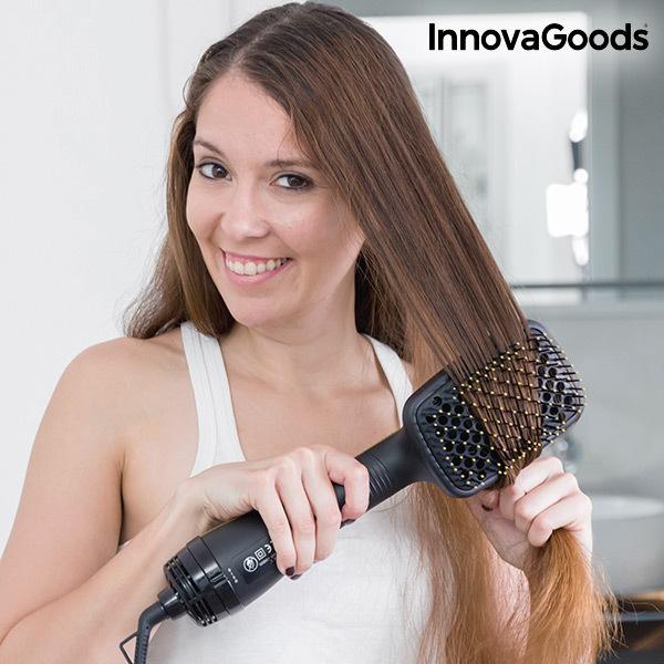 Szczotka Elektryczna do Suszenia i Wygładzania Włosów InnovaGoods 1000W Czarnozłota