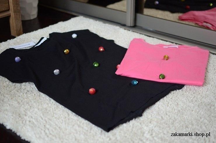 Bluzka bawełniana czarna - kolorowe kule