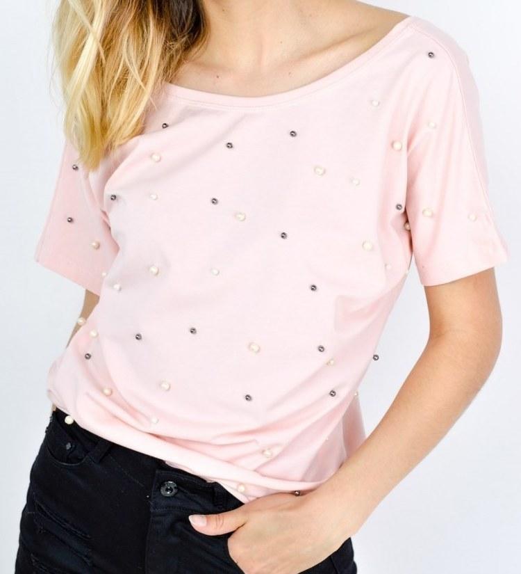 Modna bluzka v dekolt perełki standard