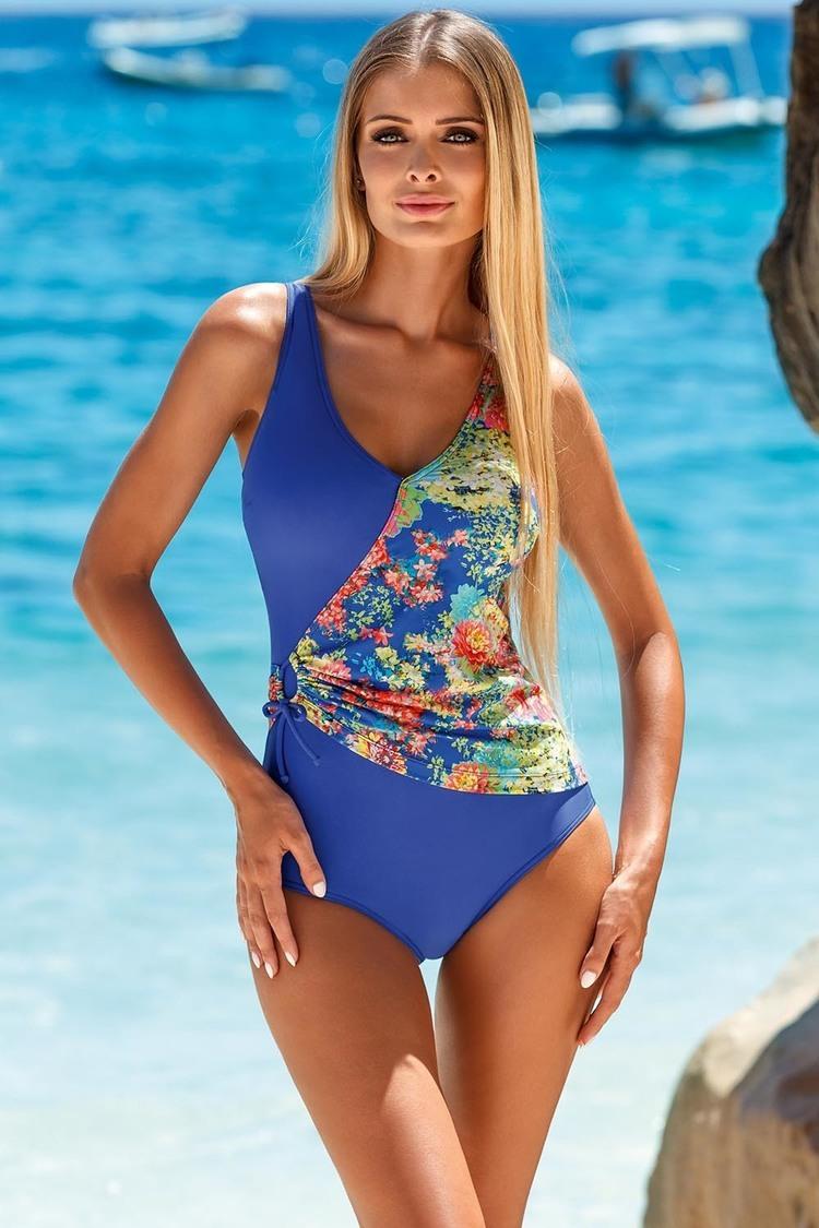 Jednoczęściowy strój kąpielowy Kostium Jednoczęściowy Model L4095/7 Chaber Flowers - Lorin
