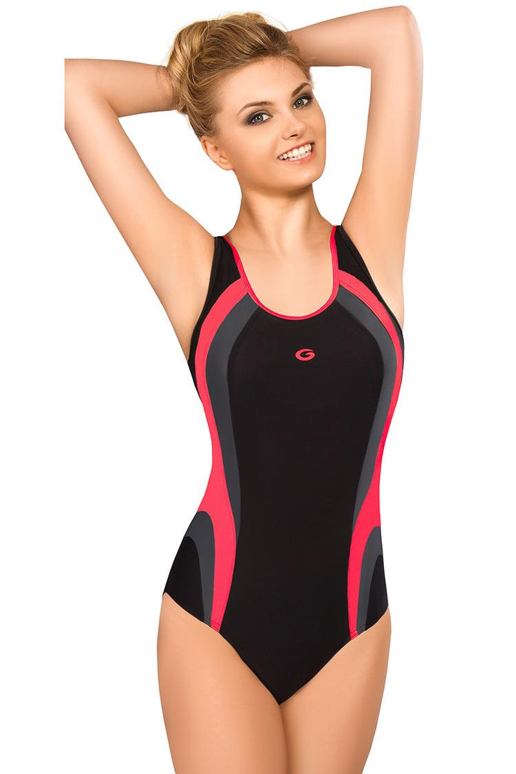 Jednoczęściowy strój kąpielowy Kostium jednoczęściowy Model Power I Black/Grafit_Pink - GWINNER