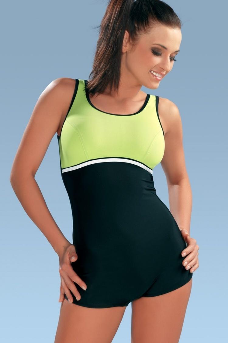 Jednoczęściowy strój kąpielowy Kostium jednoczęściowy Model Maryla III Black/Green - GWINNER