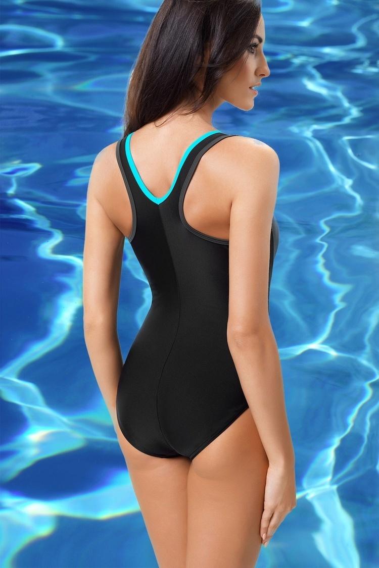 Jednoczęściowy strój kąpielowy Strój jednoczęściowy Ivana III Black/Grafit/Turkus - GWINNER