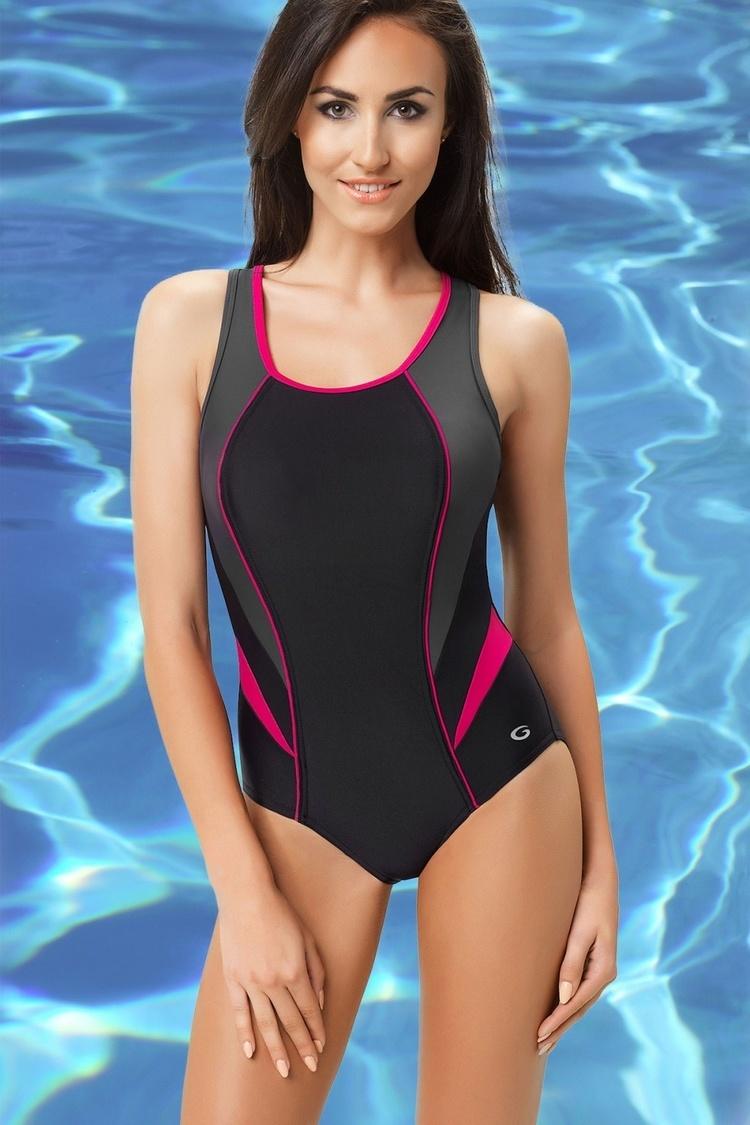 Jednoczęściowy strój kąpielowy Kostium jednoczęściowy Model Ivana I Black/Grafit/Fuksja - GWINNER