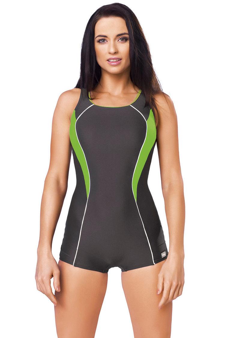 Jednoczęściowy strój kąpielowy Kostium Jednoczęściowy Model Isabel I Grafit/Green - GWINNER