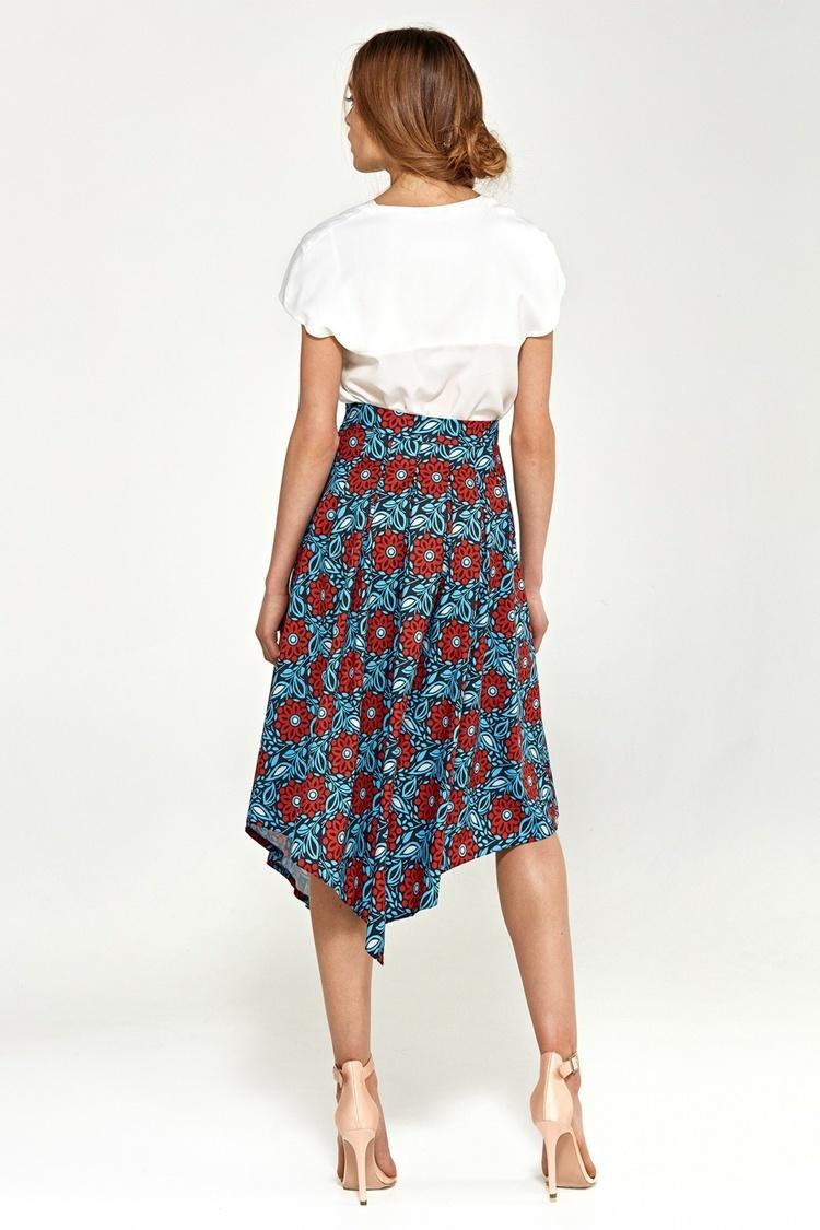 Spódnica Asymetryczna spódnica z zakładkami SP35 Blue/Flowers - Nife
