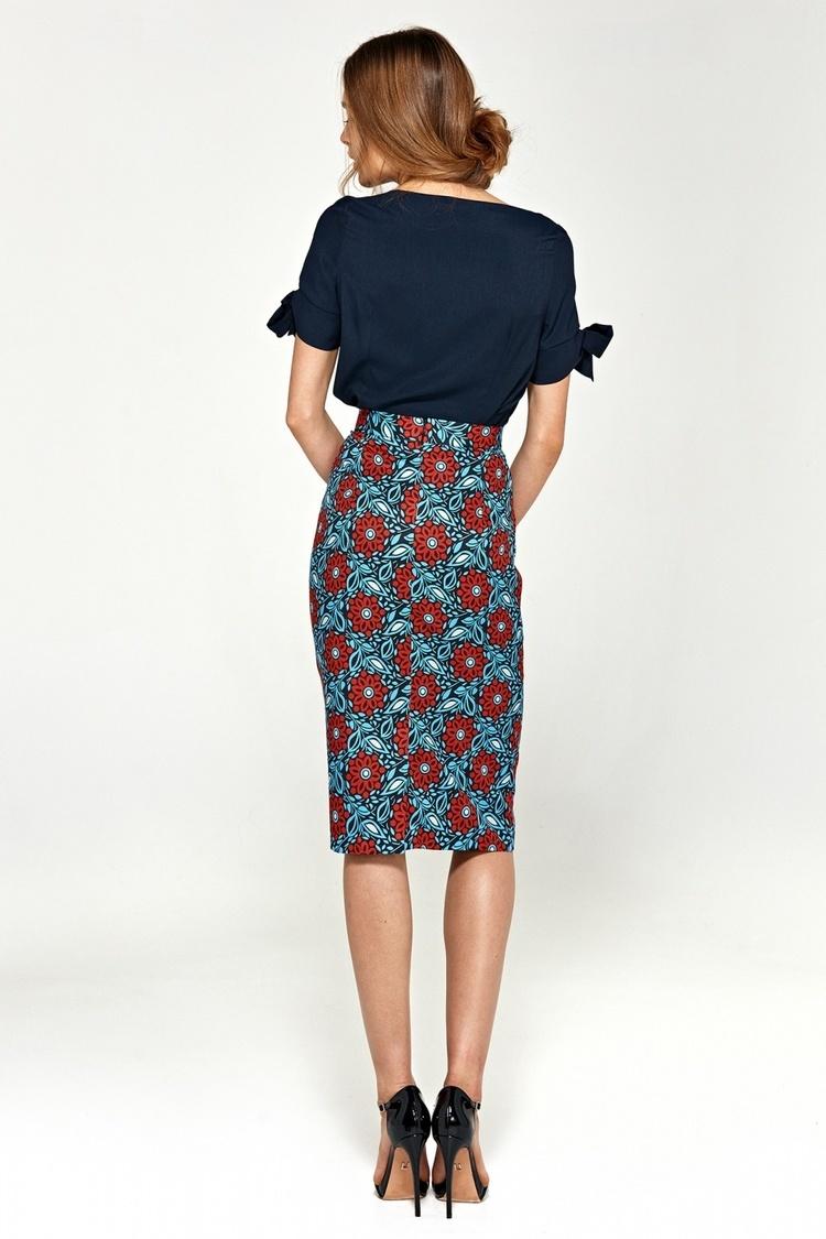 Spódnica Ołówkowa spódnica SP36 Blue/Flowers - Nife
