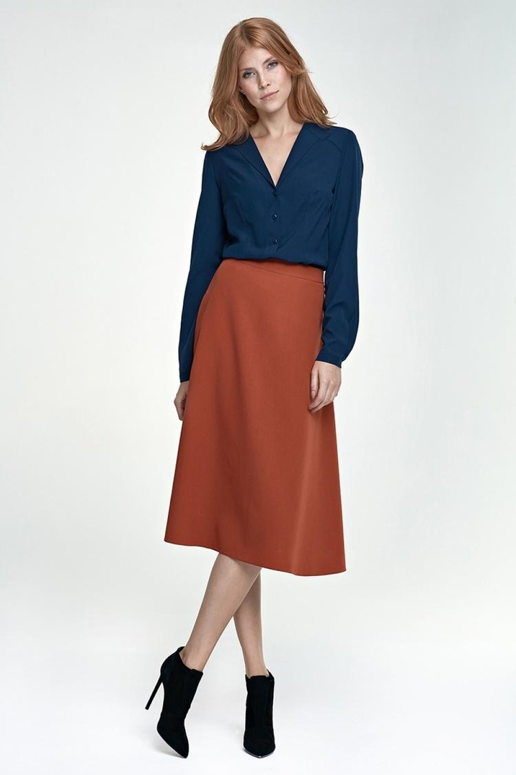 Spódnica Klasyczna spódnica Midi SP30 rudy - Nife