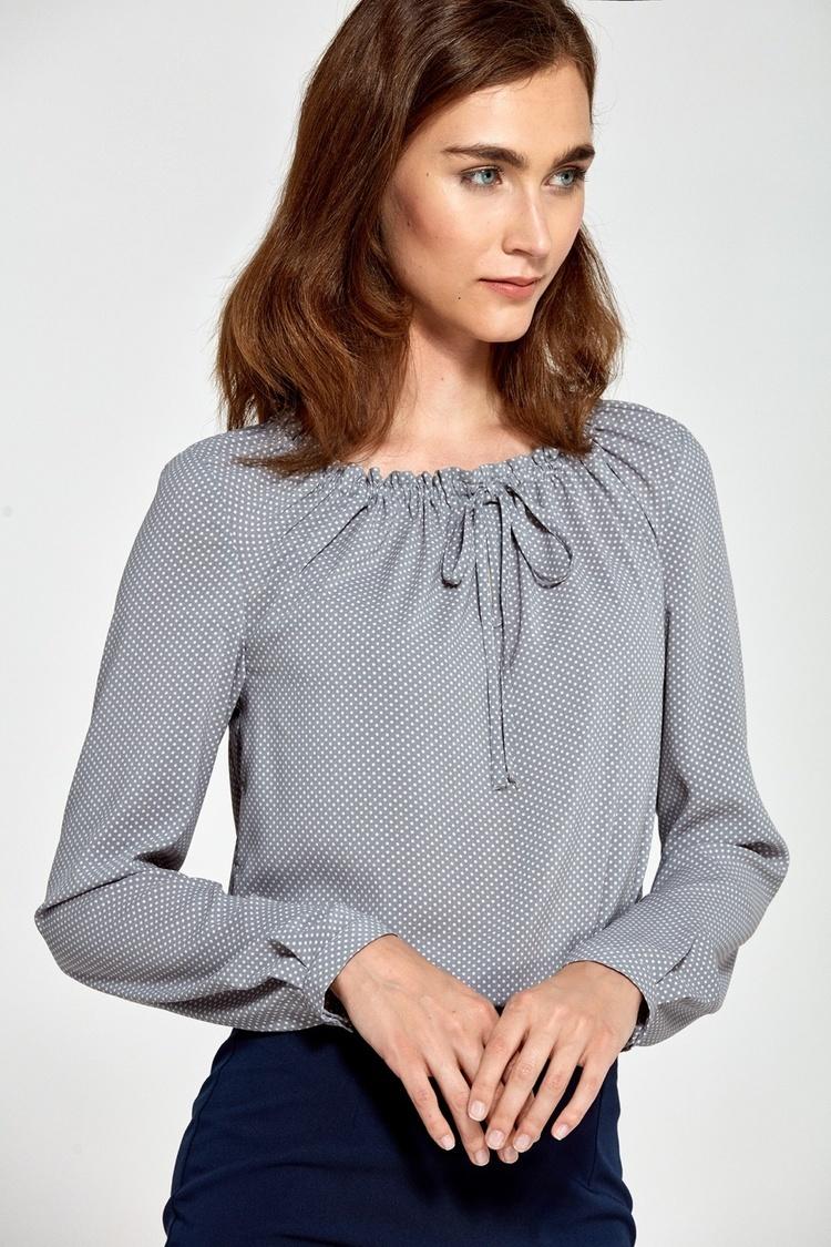 Bluzka z marszczonym dekoltem B81 Grey/Kropki - Nife