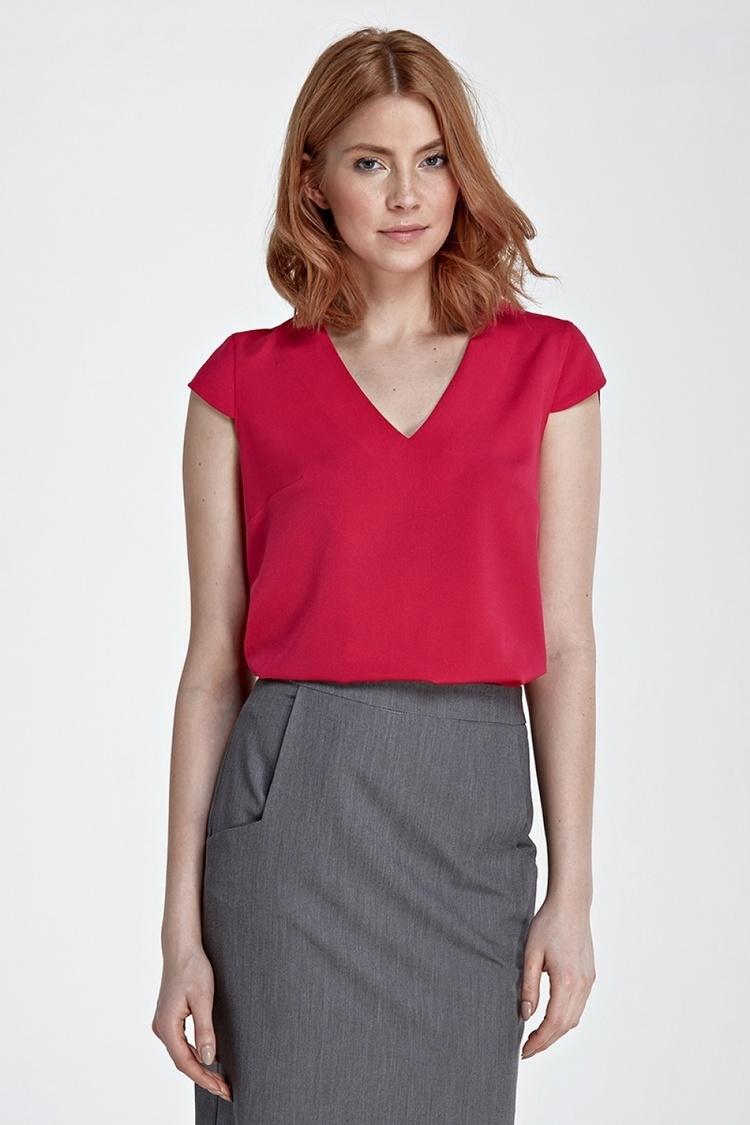Bluzka z modnym dekoltem w kształcie litery V B74 Fuksja - Nife