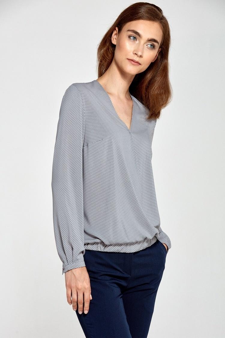 Bluzka z kopertowym dekoltem B83 Grey/Kropki - Nife
