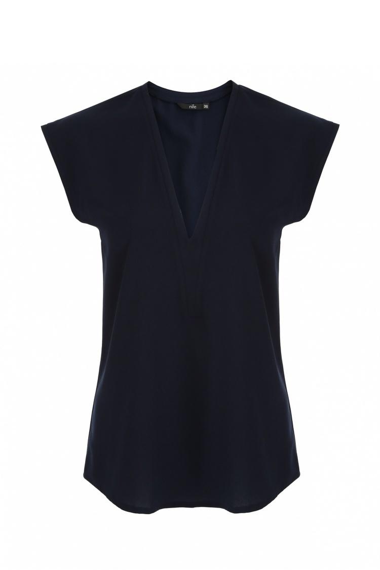 Bluzka z modnym dekoltem w kształcie litery V B74 Navy - Nife