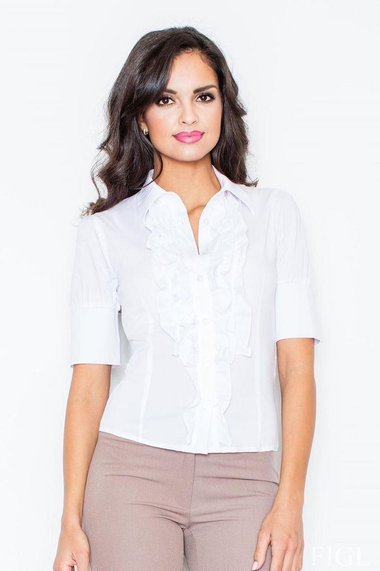Koszula z żabotem 25 biała - Figl