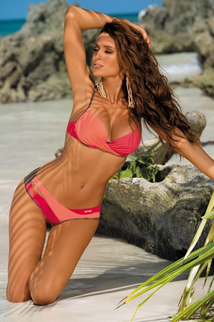 Kostium dwuczęściowy Kostium Kąpielowy MOdel Christina Cubano-Flamingo-Nectarine M-348 Brown/Orange - Marko