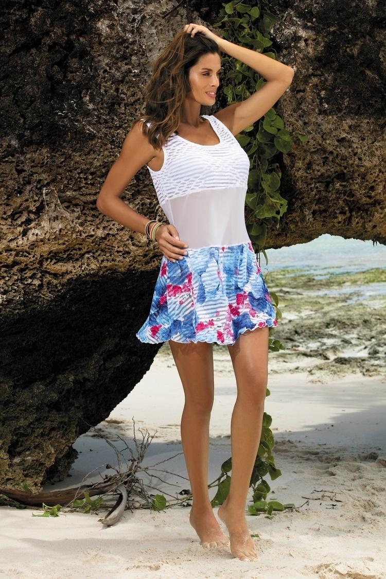 Sukienka Plażow Tunika Model Rita Oltremare-Bianco M-415 White/Blue - Marko