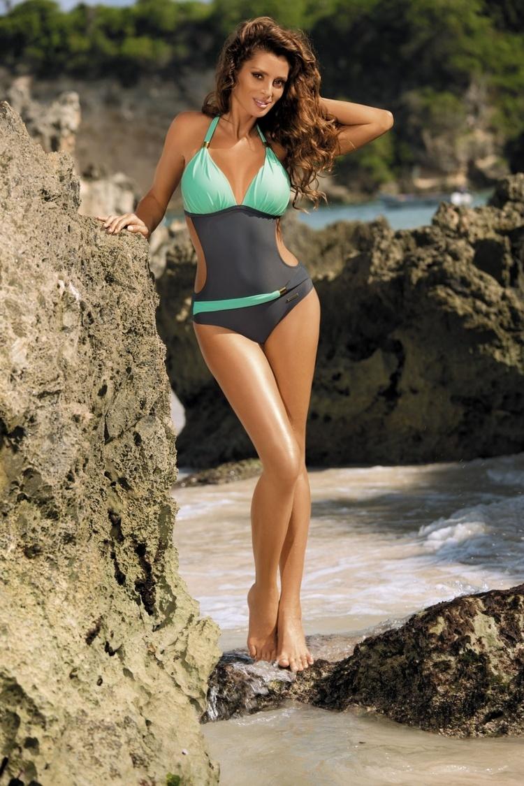 Jednoczęściowy strój kąpielowy Kostium Kąpielowy Model Beatrix Titanium-Seafoam Glow M-337 Grey/Mint - Marko