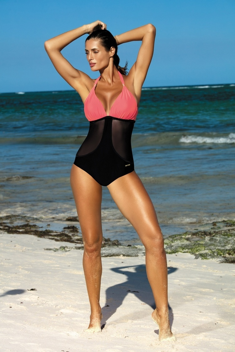 Jednoczęściowy strój kąpielowy Kostium Kąpielowy Model Priscilla Nectarine-Nero M-428 Coral/Black - Marko