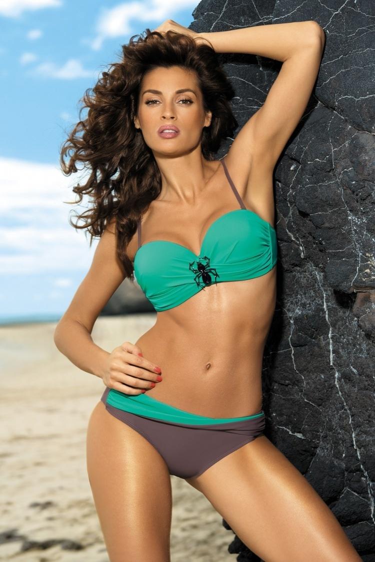 Kostium dwuczęściowy Kostium Kąpielowy Model Cornelia Maladive-Cubano M-321 Szmaragd/Brown - Marko