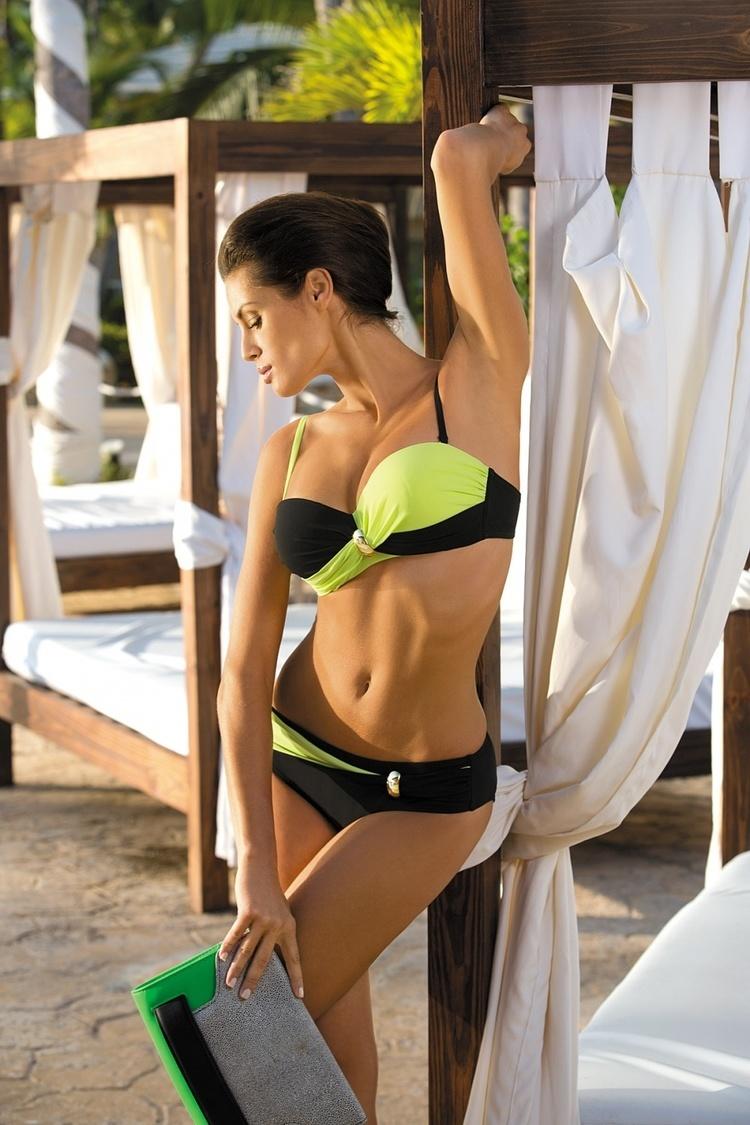 Kostium dwuczęściowy Kostium Kąpielowy Model Liliana Nero-Brazilian M-259 Black/Yellow - Marko