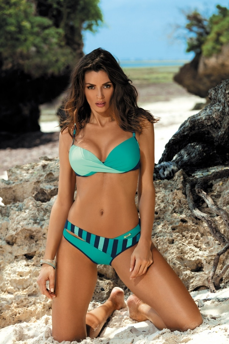 Kostium dwuczęściowy Kostium Kąpielowy Model Tamara Blu Scuro-Marbella-Turchesse M-399 Morski - Marko
