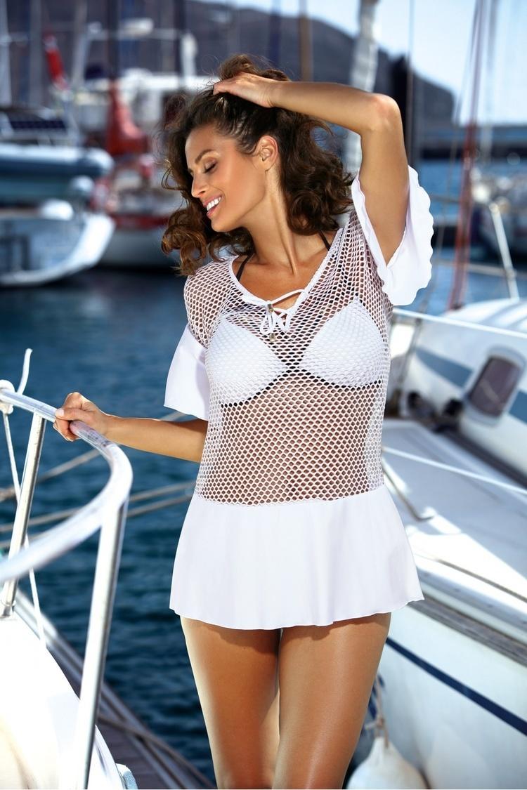 Sukienka Plażow Tunika Model Claire Bianco M-460 White - Marko