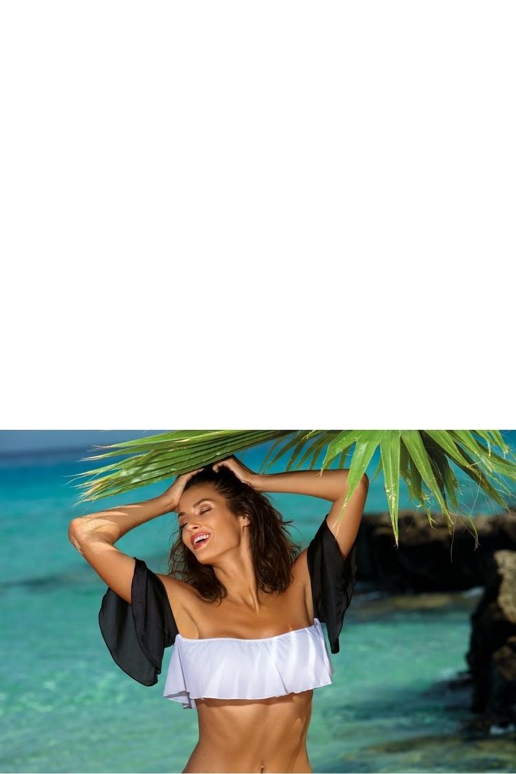 Kostium dwuczęściowy Top kąpielowy Model Grace Bianco-Nero M-488 White/Black - Marko