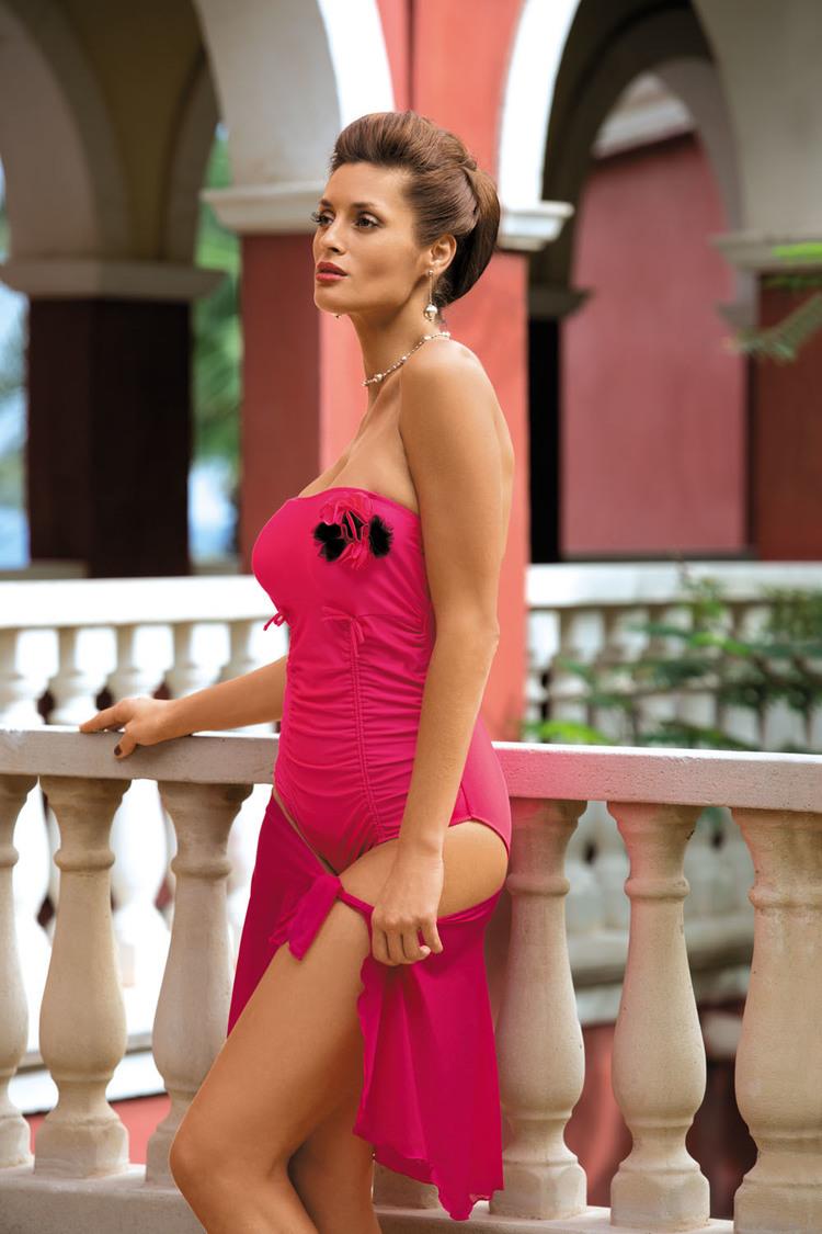 Sukienka Plażow Pareo Model B Petunia Malina - Marko